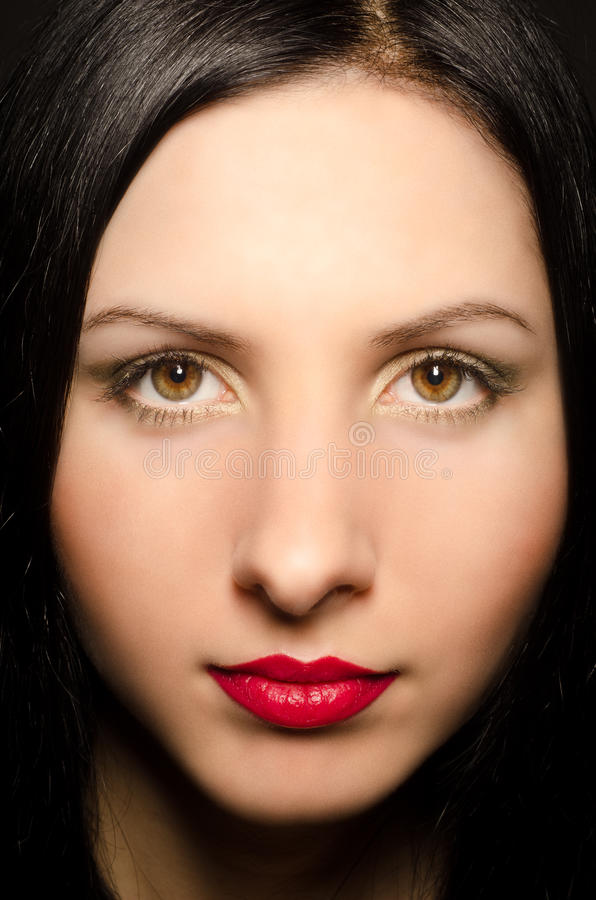 Portrait of a beautiful woman with expressive makeup stock photos