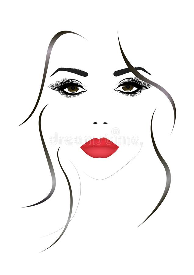 Portrait of the beautiful woman face with a red lips, vector illustration.  royalty free illustration