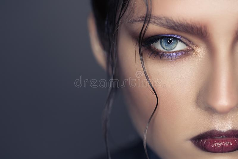 Portrait of beautiful woman. Fantasy make-up. royalty free stock photos