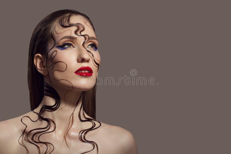 Portrait of beautiful woman. Fantasy make-up. royalty free stock photos