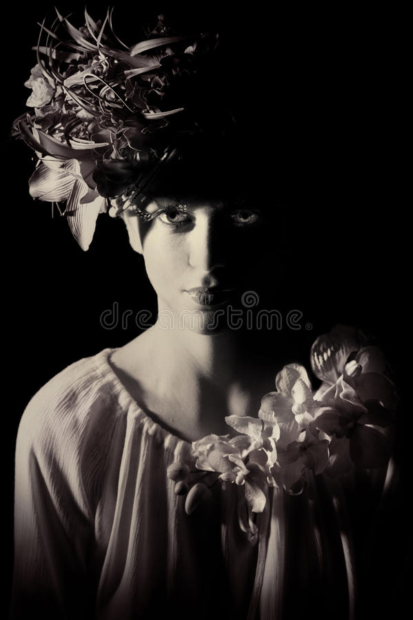 Download Portrait Of Beautiful Woman With Flowers Stock Image - Image: 19117721