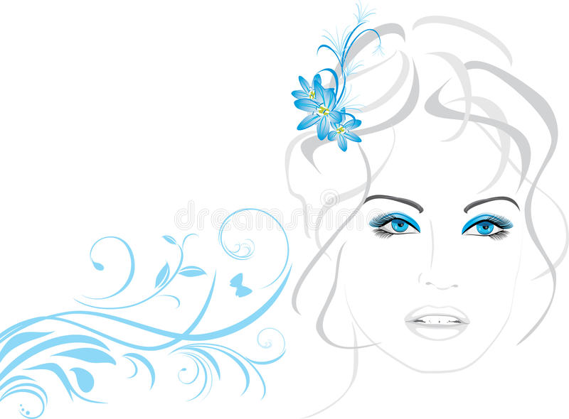 Portrait of beautiful woman with flowers in hair. Illustration vector illustration
