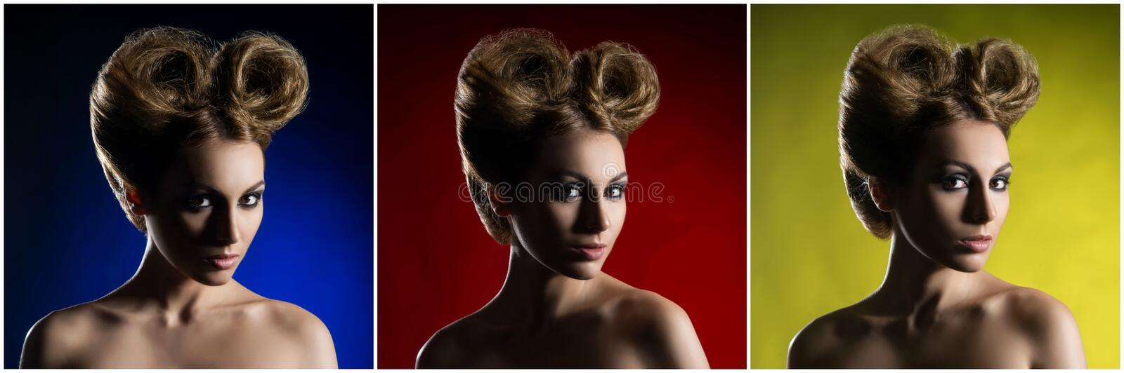 Portrait of a beautiful woman with a glamour haircut over colored background stock photos