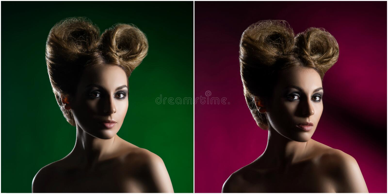 Portrait of a beautiful woman with a glamour haircut over colored background. stock photo