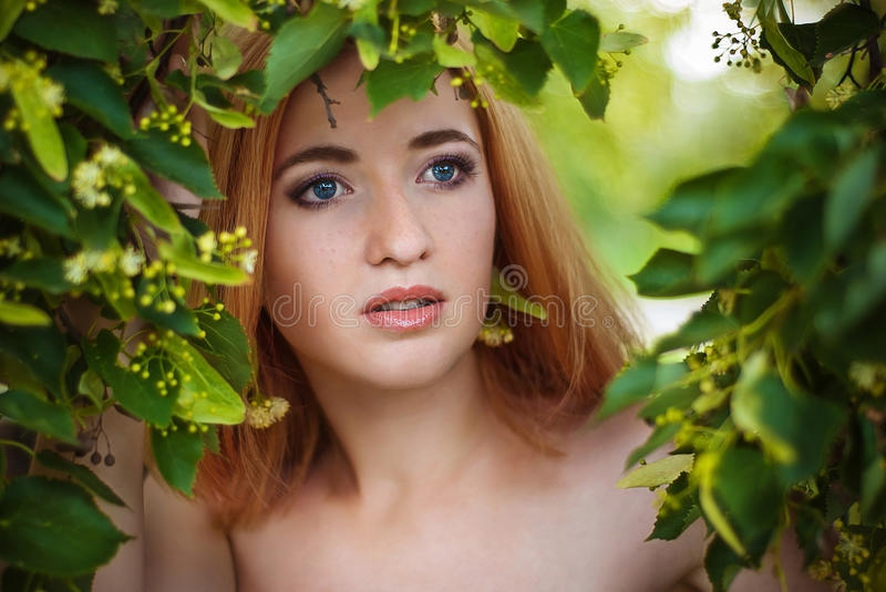 Portrait of beautiful woman in green leaves royalty free stock images