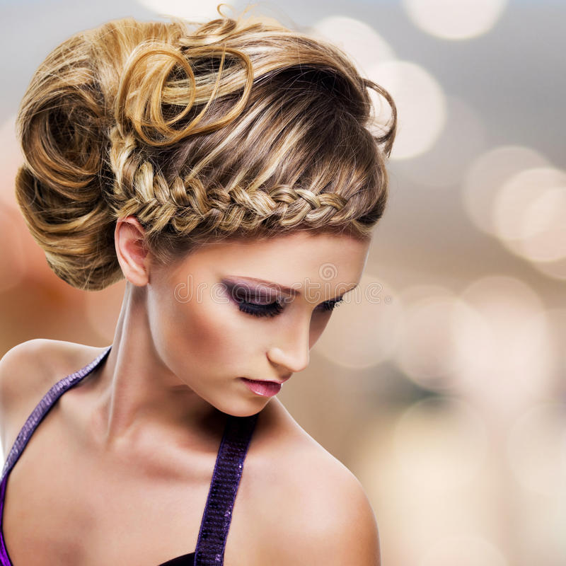 Portrait of beautiful woman with hairstyle royalty free stock images
