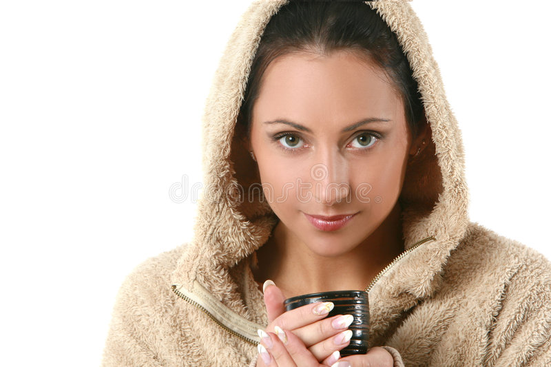 Portrait of beautiful woman with hot tea stock image