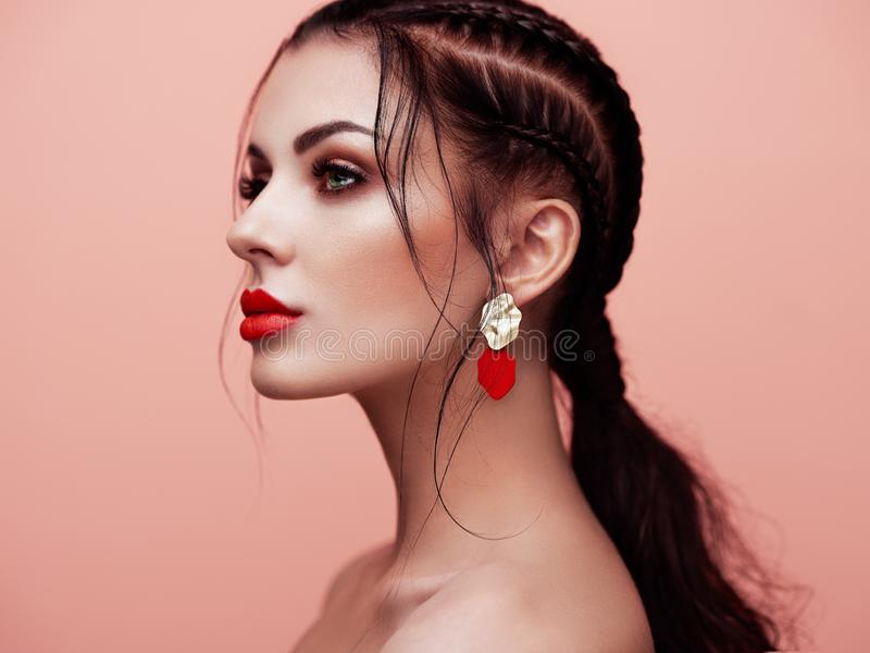 Portrait beautiful woman with jewelry stock images