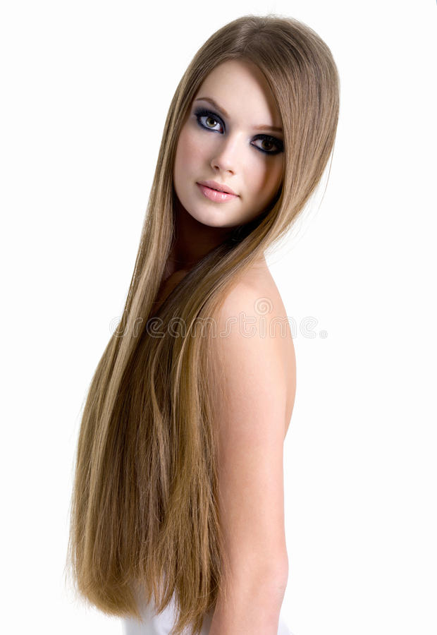 Portrait of beautiful woman with long hair royalty free stock photo
