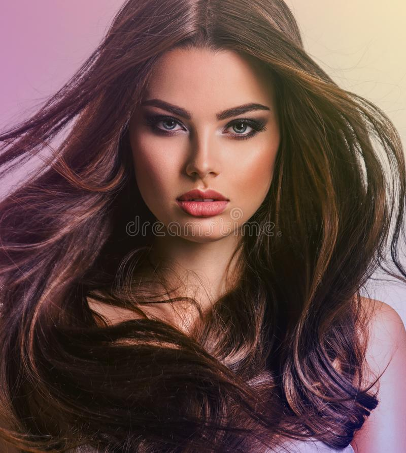 Portrait of a beautiful woman with a long hair stock photo