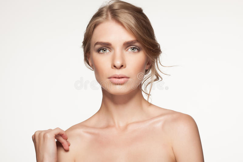 Portrait of beautiful woman looking at camera. Beauty girl. stock images