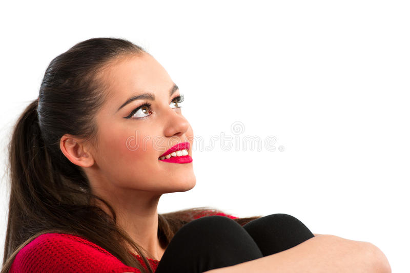 Portrait of a beautiful woman looking up royalty free stock photos