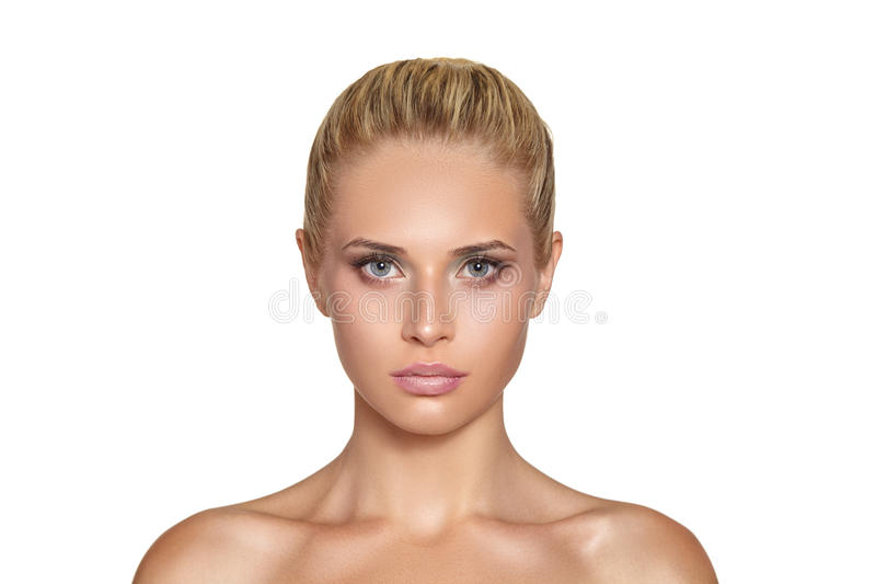 Portrait of beautiful woman model with fresh daily makeup.  royalty free stock photography