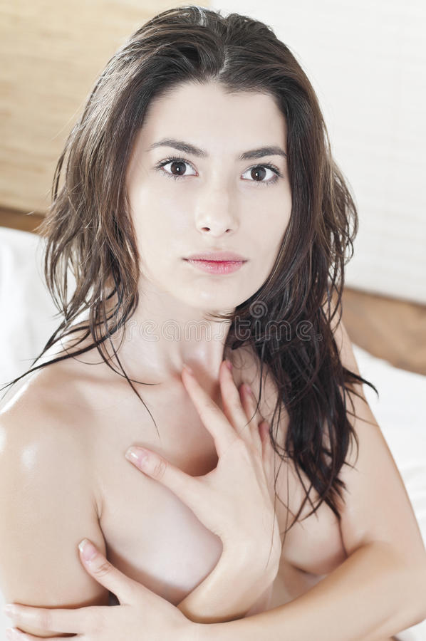Portrait of a beautiful woman naked stock photo