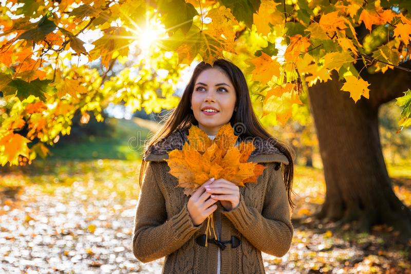 Portrait of a woman in a park during autumn season. Portrait of a beautiful woman in a park during autumn season holding colorful leafs in her hand stock photos