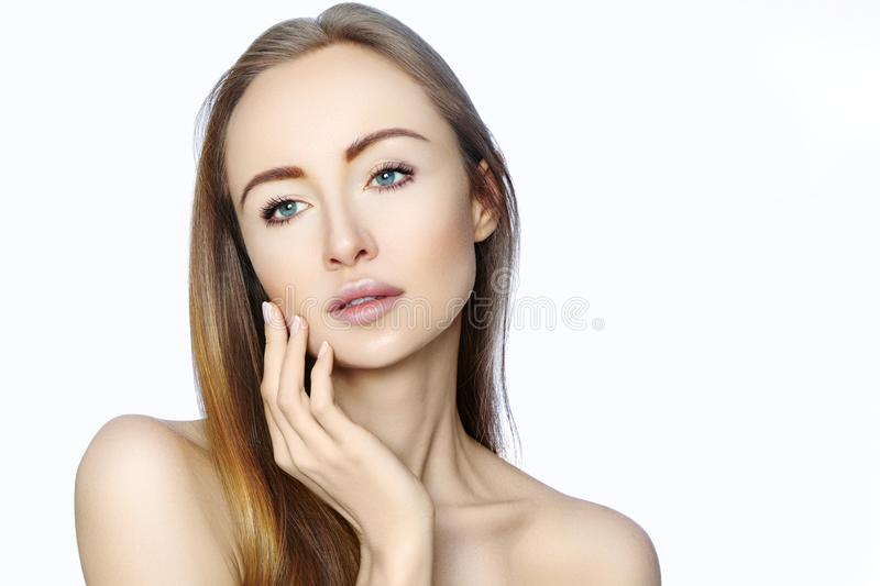 Portrait of beautiful woman with perfect clean skin. Spa look, Wellness and health Face. Daily Make-up. Skincare routine royalty free stock image