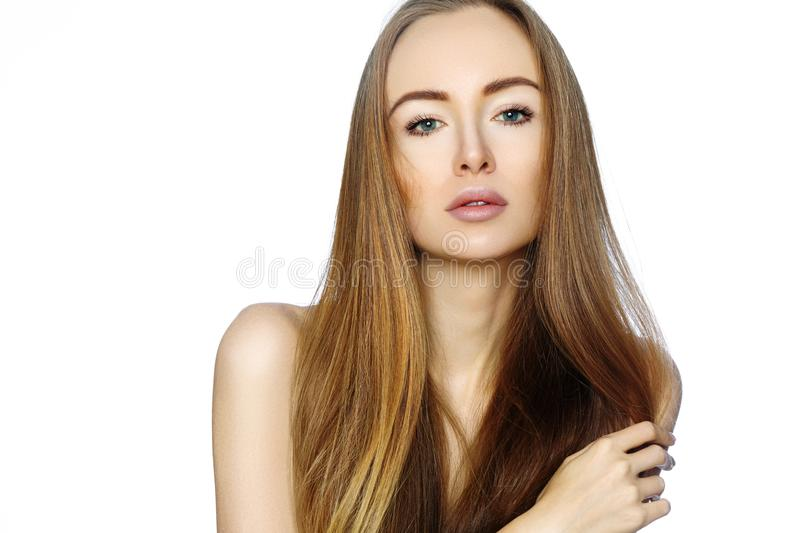 Portrait of beautiful woman with perfect clean skin. Spa look, Wellness and health Face. Daily Make-up. Skincare routine. On white background stock photo