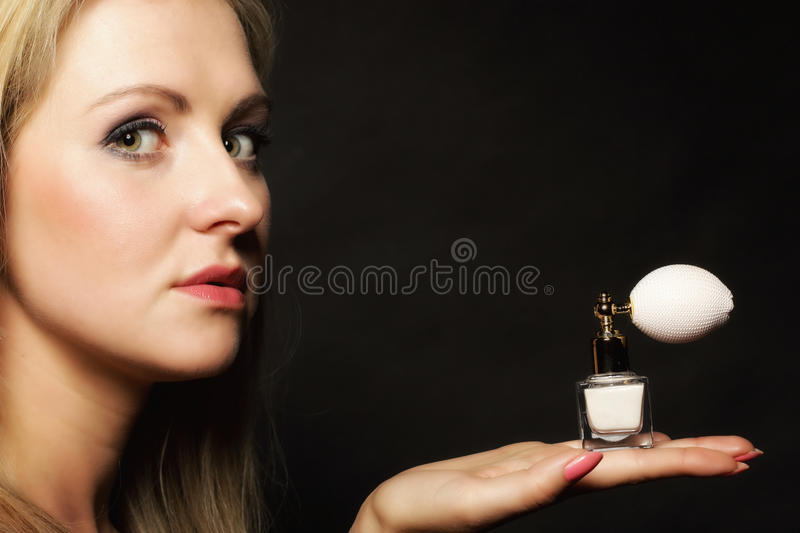 Download Portrait Beautiful Woman With Perfume Bottle Stock Photo - Image of fashion, enjoyment: 39507742