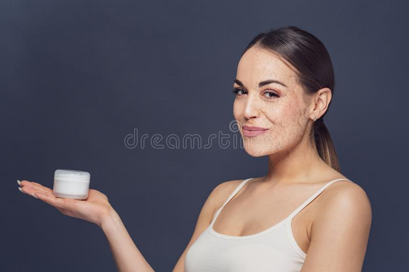Portrait of beautiful woman with problem and clean skin, aging a royalty free stock images