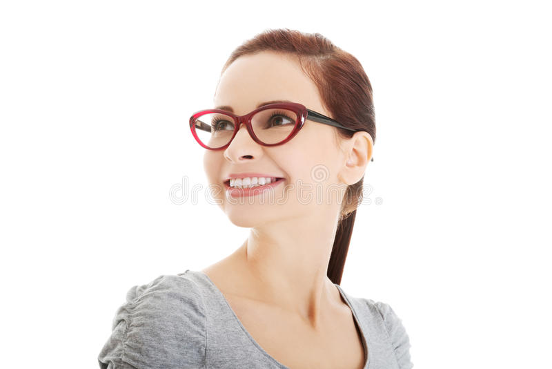 Portrait of beautiful woman in red eyeglasses. royalty free stock photo