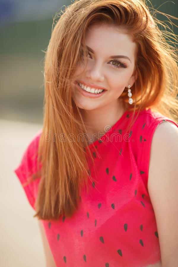 Portrait Of Beautiful Woman With Red Hair Stock Image