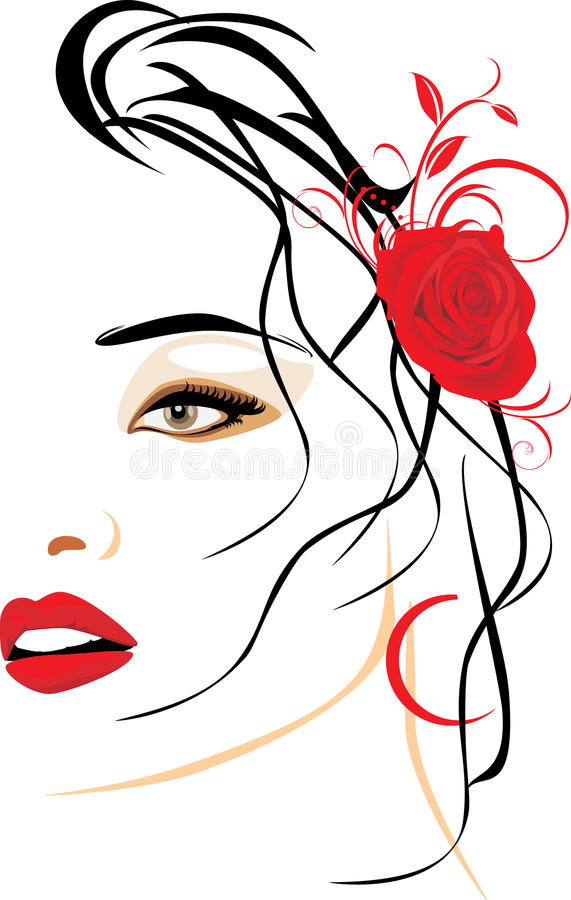 Portrait of beautiful woman with red rose in hair. Illustration royalty free illustration