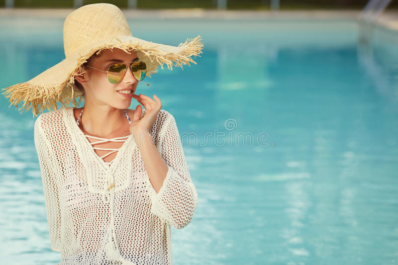 Portrait of beautiful woman relaxing in swimm royalty free stock photo