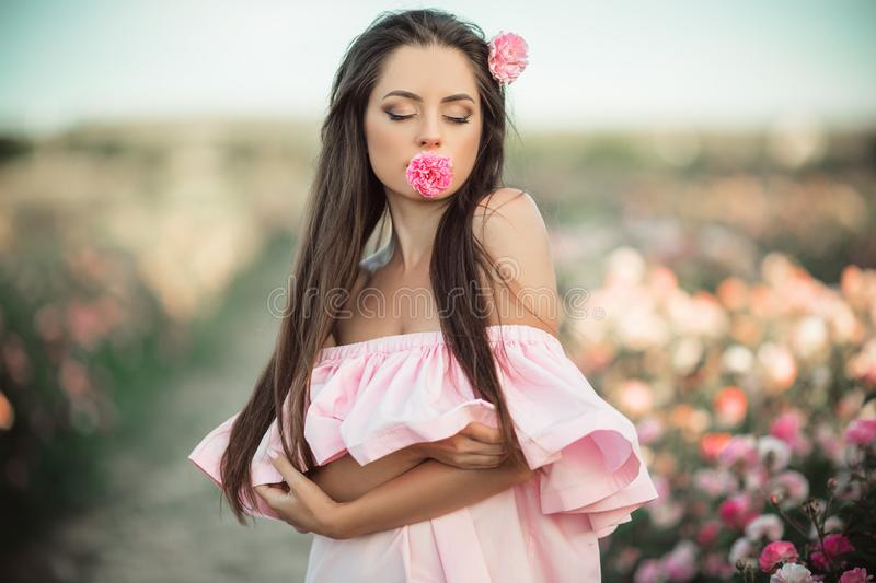 Portrait of beautiful woman with rose flower in her mouth stock photos