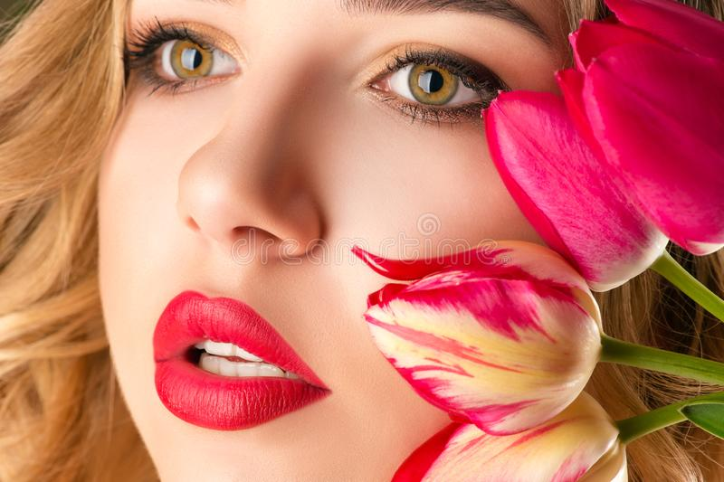 Portrait beautiful woman with sensual lips close up stock photos