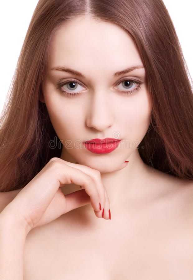 Download Portrait Of Beautiful Woman With Sensual Red Lips Stock Photo - Image: 18381798