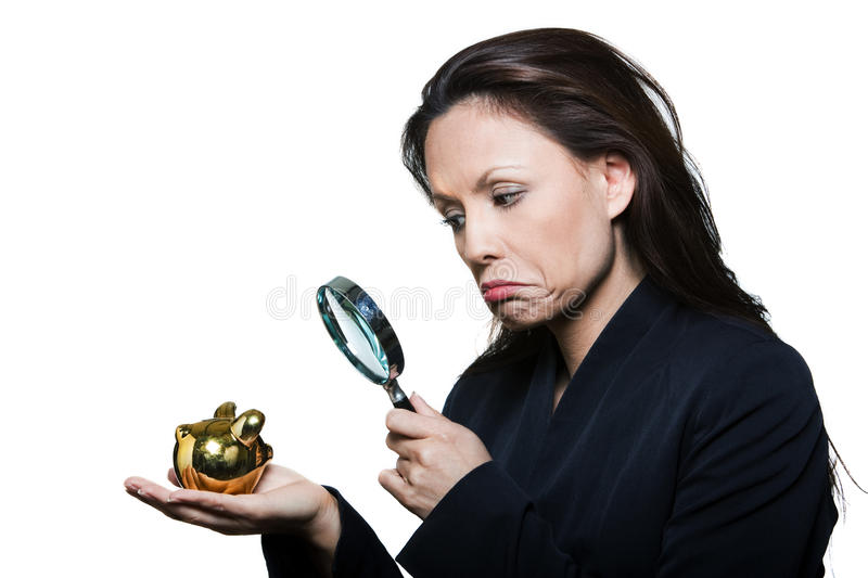 Portrait of beautiful woman with small savings