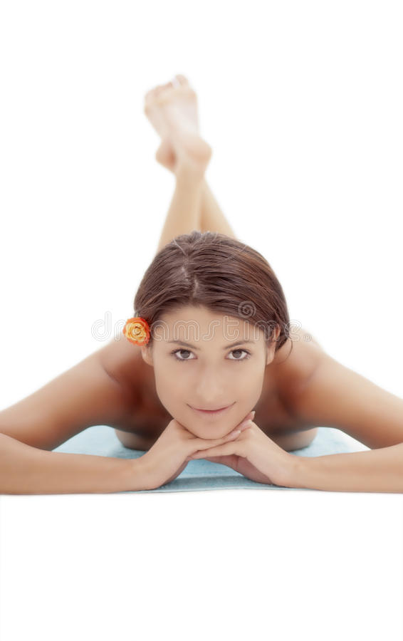 Portrait of a beautiful woman at spa session stock photo