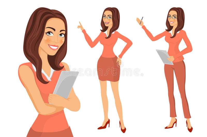 Portrait of beautiful woman standing with arms folded. Business Girl. young women in elegant office clothes art vector royalty free illustration