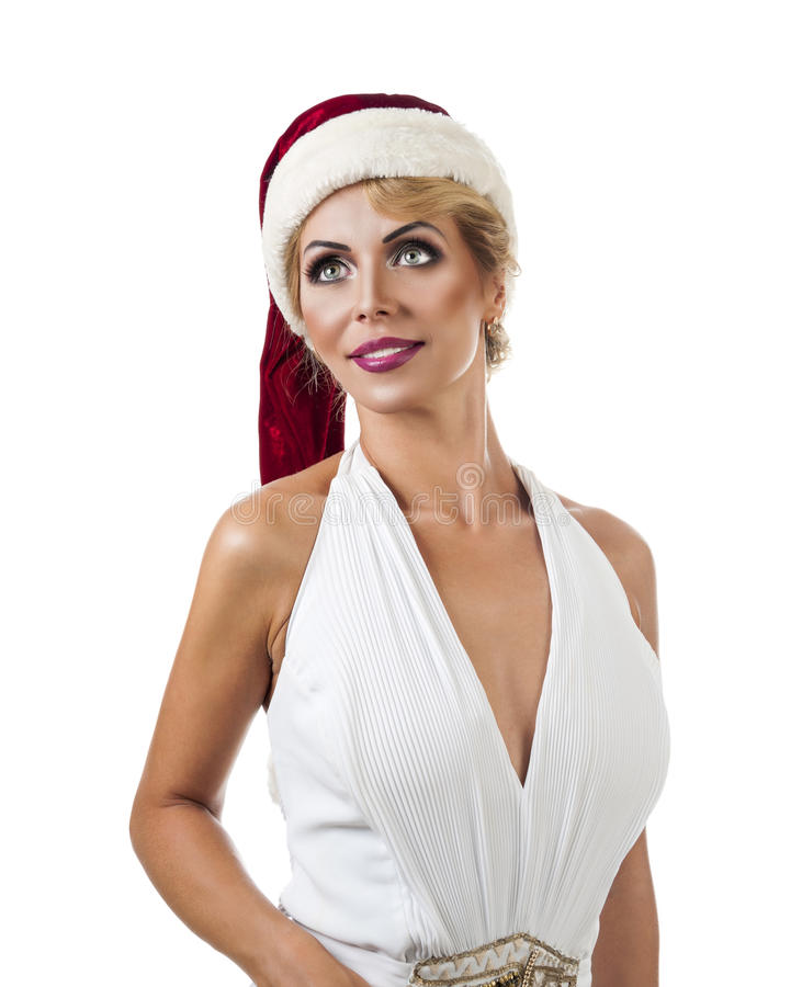 Portrait beautiful woman wearing a santa hat royalty free stock photo