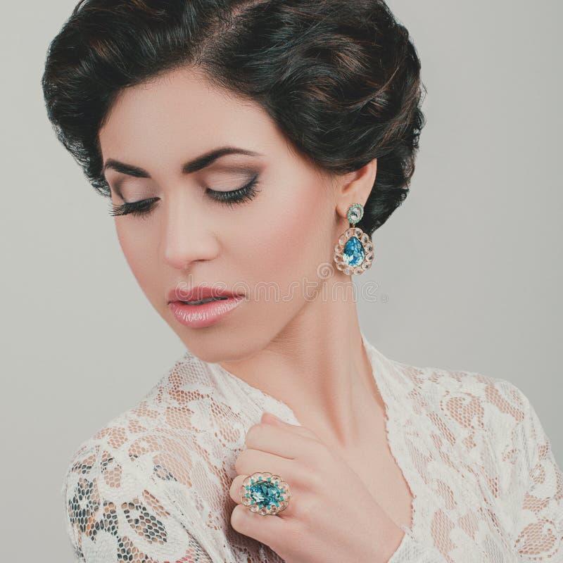 Portrait of Beautiful Woman Wedding Model royalty free stock photography