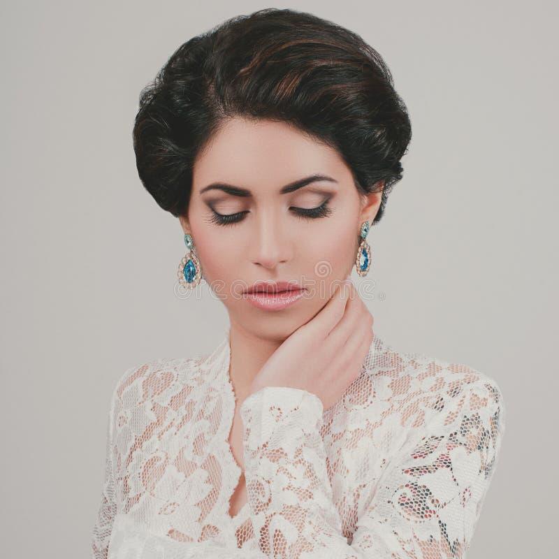 Portrait of Beautiful Woman Wedding Model stock image