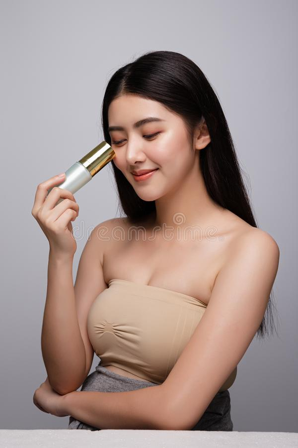 Portrait of beautiful young asian woman clean fresh bare skin concept. Asian girl beauty face skincare and health wellness, royalty free stock image