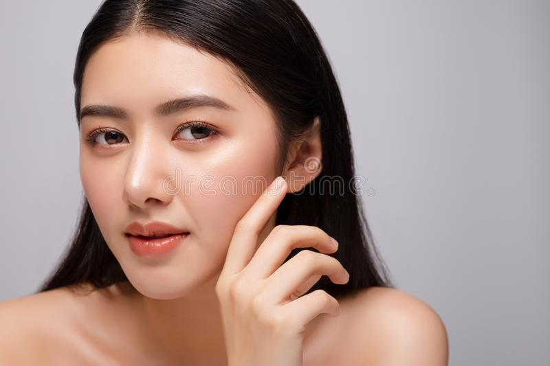 Portrait of beautiful young asian woman clean fresh bare skin concept. Asian girl beauty face skincare and health wellness, stock images