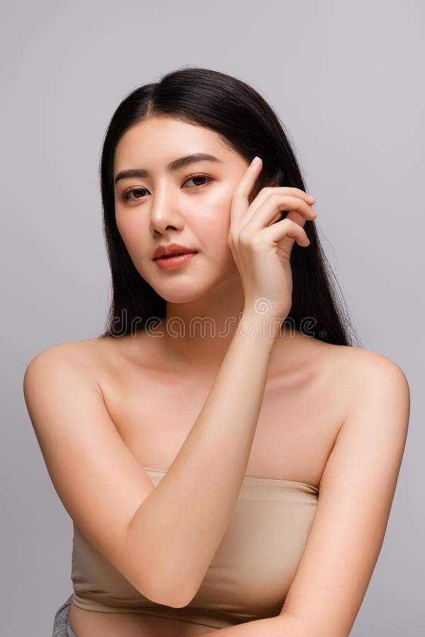 Portrait of beautiful young asian woman clean fresh bare skin concept. Asian girl beauty face skincare and health wellness, royalty free stock images