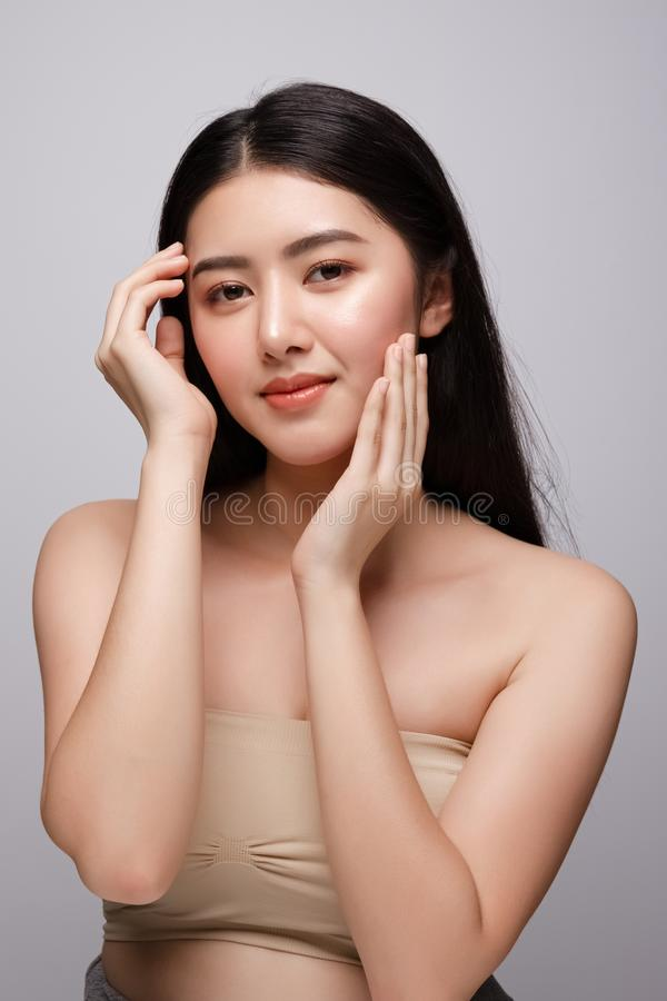 Portrait of beautiful young asian woman clean fresh bare skin concept. Asian girl beauty face skincare and health wellness, stock photos