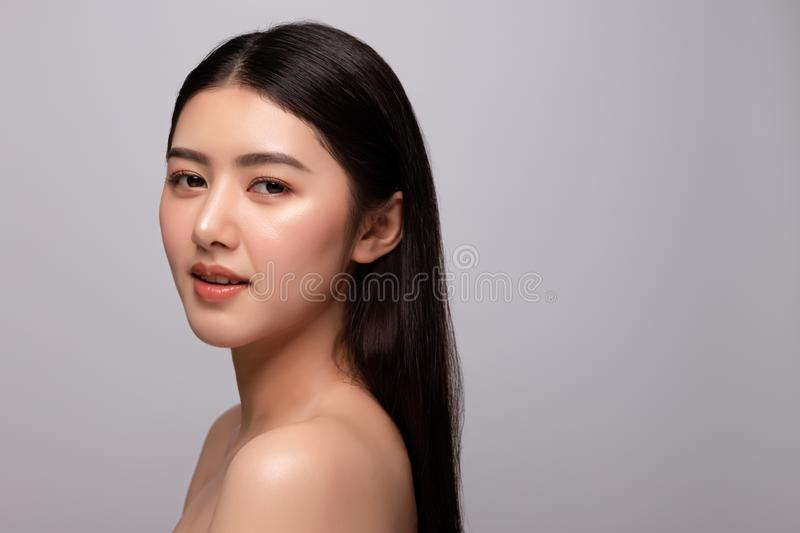 Portrait of beautiful young asian woman clean fresh bare skin concept. Asian girl beauty face skincare and health wellness, royalty free stock photography