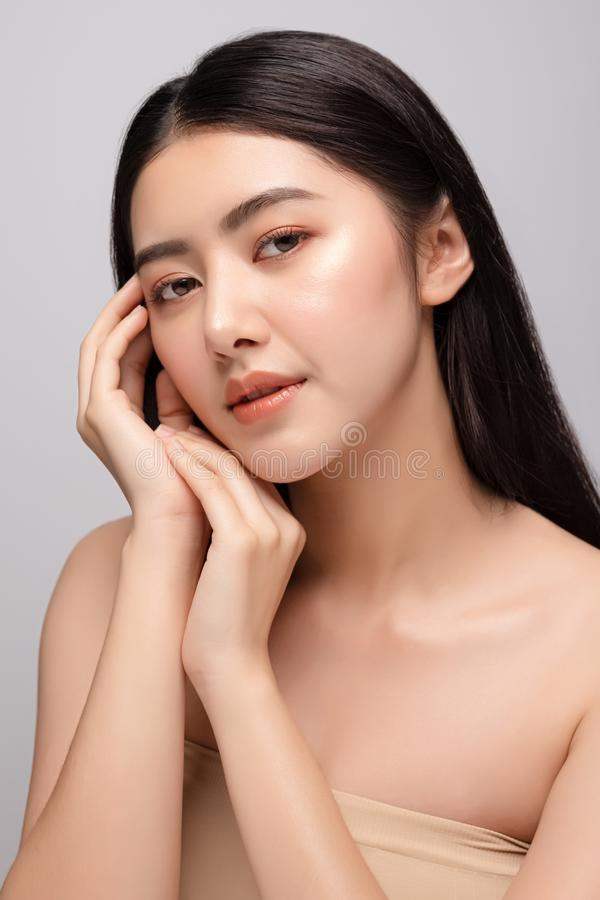 Portrait of beautiful young asian woman clean fresh bare skin concept. Asian girl beauty face skincare and health wellness, Facial stock image