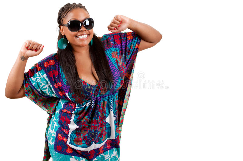 Portrait of beautiful young black woman dancing stock photography