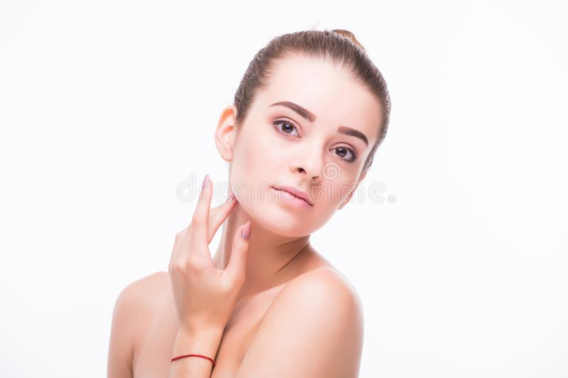Portrait of beautiful young blond woman with clean face. stock images