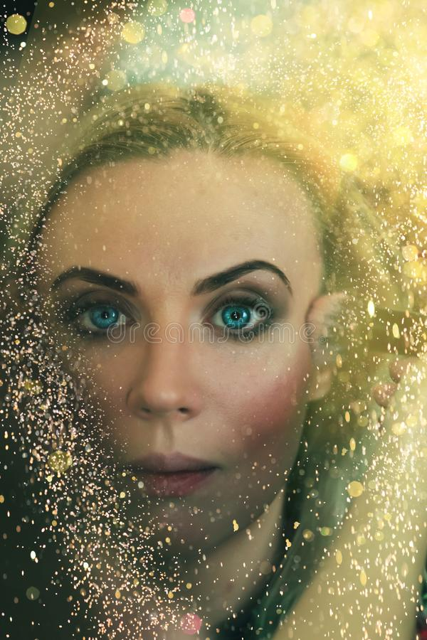 Portrait, beautiful, young, blonde, surrounded by, golden sparkles, golden lights, professional makeup, golden skin, bright stock photography