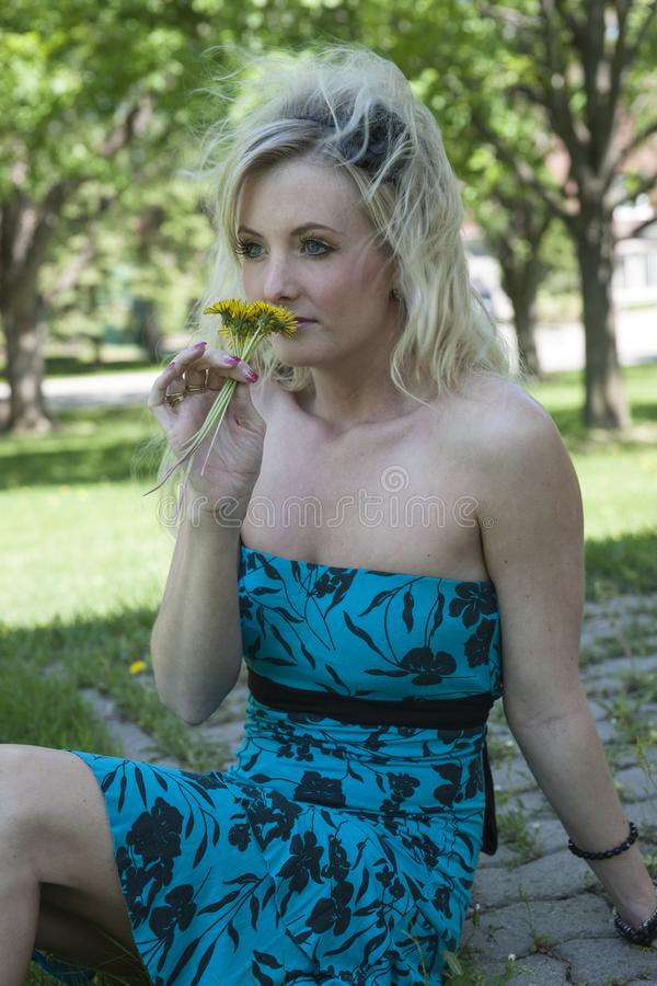 Pretty young blonde woman with dandelion stock images