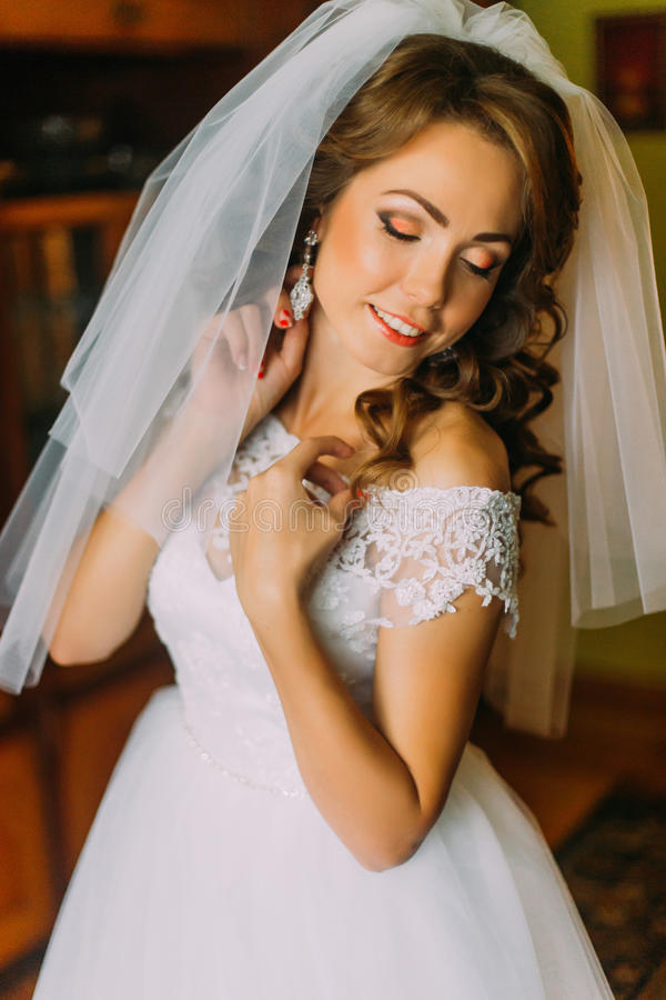 Portrait of beautiful young bride in wedding decoration royalty free stock photo