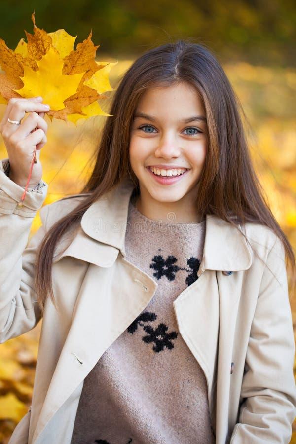 Portrait of a beautiful brunette little girl, autumn park outdoors stock photos