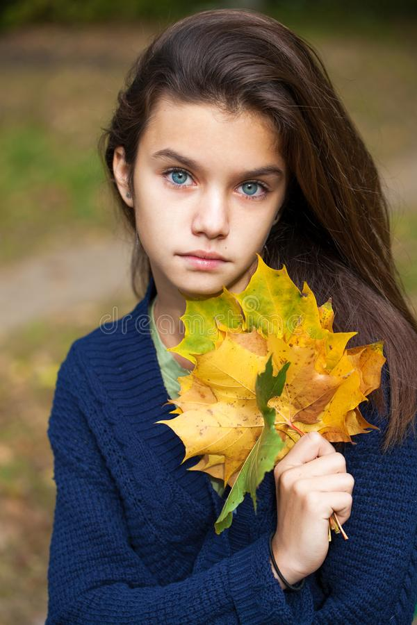Portrait of a beautiful young little girl stock images