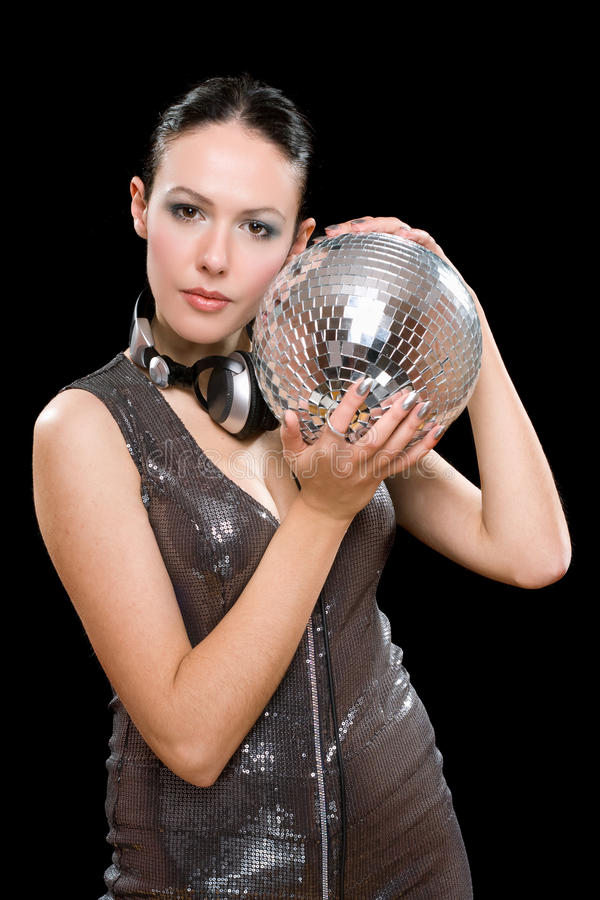 Download Portrait Of Beautiful Young Brunette With A Mirror Ball Stock Photography - Image: 29018242
